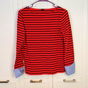 J. Crew boat neck red navy stripe faux layer top